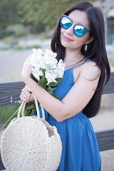DSC_6153 (Diego California) Tags: glasses fashion white bag smelling roses jeans flowers