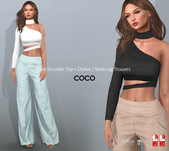 COCO New Release @ Fameshed (cocoro Lemon) Tags: coco newrelease fameshed oneshoulder wideleg trousers mesh secondlife fashion maitreya slink belleza