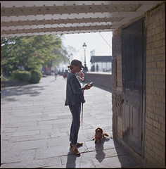 the little dog.. (steve-jack) Tags: hasselblad 501cm 80mm cb fuji reala 100 film 120 6x6 tetenal c41 kit epson v500 chelsea embankment