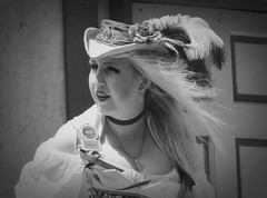 Hope (clarkcg photography) Tags: woman blonde renaissance festival faire castleofmuskogee wench scarletpillow plumage hat hair breeze blackandwhite blackwhite bw 7dwf thursdayblackandwhite