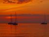 SUNRISE WITH THREE BOATS P5094128 (hans 1960) Tags: sun sunrise sonne sonnenaufgang sol soleil atardecer ship boat schiff boot wasser water meer himmel sky farben colour licht wellen wave mittelmeer spanien mallorca urlaub holyday stille stillness harmony
