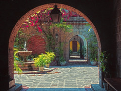 Museum Courtyard (Artypixall) Tags: philippines manila entrance arch courtyard azaleas flowers fountain