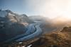Sunrise at Aletsch Glacier (noberson) Tags: aletsch glacier world heritage unesco switzerland wallis valais arena light fog morning sunset hot cold mountain alps ice fire serene landscape