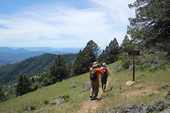 Lane and Glenn enter the open grassy slopes of Anderson Butte (rozoneill) Tags: oregon jackash trail blm siskiyou mountains jacksonville hiking grub gulch sterling ditch ruch