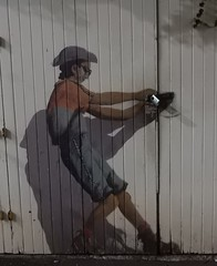 Deceptive Mural (mikecogh) Tags: auckland mural clever publicart unlocking lock doors pulling opening action integrated illusion realism