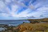 The shore in Ahu Akahanga / Берег в Аху Акаханга (Vladimir Zhdanov) Tags: travel chile ocean water sky polynesia rapanui easterisland ahuakahanga wave cloud rock stone landscape coast grass bay