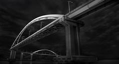 a r c (*Jin Mikami*) Tags: monochrome bw bnw black white photoshopped japan pentax minimalism surreal fineart bridge sky cloud sea