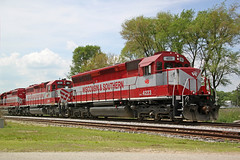 Three out of four red and gray units on this idling sand train (AndyWS formerly_WisconsinSkies) Tags: train railroad railway railfan wisconsinandsouthern wsor watco wamx emd sd45 sd40m2 locomotive