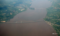 Severn Bridge and Second Severn Crossing (Kev Slade Too) Tags: severnbridge secondseverncrossing riversevern airtoground