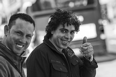 Thumbs up (Frank Fullard) Tags: frankfullard fullard candid street portrait friendly smile thumb thumbsup approval recognition monochrome blackandwhite blanc noir dublin irish ireland