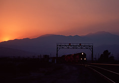 Sunset at Garnett (Ray C. Lewis) Tags: sunset signal bridge union pacific southern freight transportation railroad trains sky california yuma sub emd splocomotives
