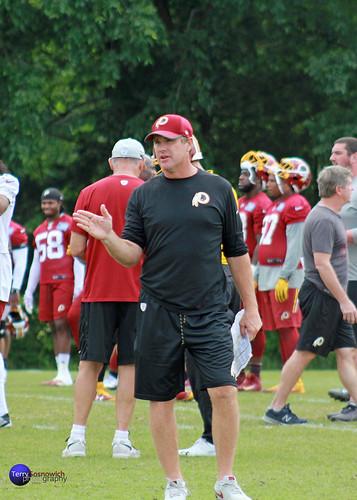 Redskins Head Coach Jay Gruden on the field.