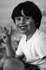 Peace (Beth Crawford 65) Tags: kids children boys smiles freckles fun summer mo peace love happiness bw candid celebrate celebrating michigan bethcrawford joy life childhood