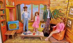 COLLEGE STUDENT (ModBarbieLover) Tags: allan doll ken barbie skipper midge vintage 1964 1965 dream house mattel green brown pink blue knitwear lounge tv