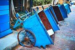 Back Gate Barrows (C & R Driver-Burgess) Tags: bicycle wheels handcart barrow cobbles path mailbox blue rust orange bin