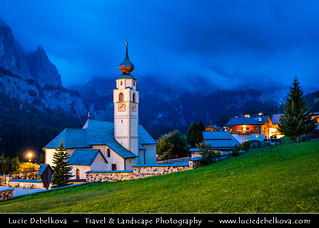 Italy - Alps - Dolomites - Colfosco Church at Twilight - Blue Hour - Night - Dusk