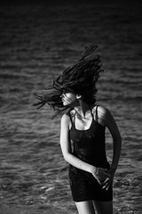 Play me that song again~ Greece (~mimo~) Tags: daughter girl beach blackandwhite movement hair leamourhege portrait travel greece