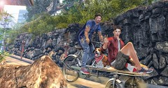There is always a way to have fun. (brian.werefox) Tags: findyours tmd uber shiny shabby fameshed ascend nativeurban nutmeg taketomi fun frienship friends bike bicycle cat sign slink