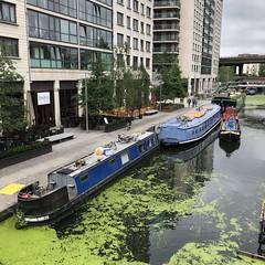 Paddington Basin, Regent's Canal Walk (Tom Willett) Tags: canal walk regentscanal iphone square paddingtonbasin barge boat canalboat longboat towpath