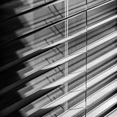 Light through a window (docoverachiever) Tags: lines squareformat window shade diagonal texture geometric blackandwhite fabric light challengeyouwinner