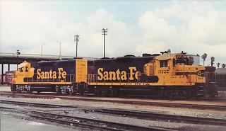 Santa Fe GP20 and GP35 locomotives at San Bernardino in 1989
