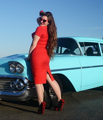 Holly_9220 (Fast an' Bulbous) Tags: chevy american car classic girl woman hot sexy pinup model red wiggle dress high heels stockings long brunette hair wife people outdoor santapod