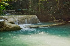 Erawan waterfall in Kanchanaburi, Thailand (UweBKK (α 77 on )) Tags: erawan waterfall water fall flow stream national park nature trees forest rocks stones basin pool jungle kanchanaburi province thailand southeast asia sony alpha 77 slt dslr