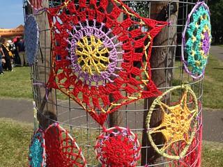 Yarn bombing at Leith Festival