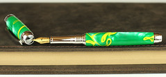 Green & Yellow Stripe Fountain Pen - Bock Gold Nib (BenjaminCookDesigns) Tags: fountainpen custom bespoke engraved personalised classic vintage artdeco style gift birthday christmas fpgeeks fpn giftforhim giftforher füllfederhalter green yellow stripe