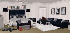 Bedroom (: (BradleysDesigns) Tags: navy grey gray black modern cute bed sofa couch second life secondlife virtual decor bedroom young fab fablous blogger aria loft sayo garbaggio fancy