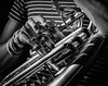 Sousaphone (2018) (tim.perdue) Tags: sousaphone brass musical instrument horn tuba closeup detail music jazz performance live concert black white bw monochrome nikon d5500 nikkor 18140mm ohio state fair fine arts exhibition cox center exposition columbus gallery show valve slide striped shirt hand arm bracelet finger heavy metal bass conn 20k