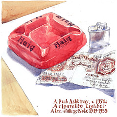 Small Things, Ashtray, Lighter and Banknote (larosecarmine) Tags: sketch drawing caroline johnson fine artist vic alice still life ashtray haigh whisky ten shilling note grief grieving remains urban sketcher