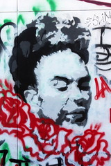 Houston - EaDo: Frida Kahlo (wallyg) Tags: eado eastdowntown eastdowntownhouston fridakahlo graffiti harriscounty houston innerloopeast mural stencil stencilart streetart texas