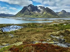 Valbergsveien, Vestvagoy, Lofoten (wimvandemeerendonk) Tags: lofoten vestvagoy mountain fjord blue bright contrast color colors colours colour clouds cloud cloudscape green hill hills landscape mountainscape nature norway outdoors outdoor ocean orange panorama reflection rock rocks red samsung tablet sky snow scenic wimvandem water wetlands greatphotographers
