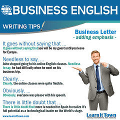 LIT BE Writing Tip - adding emphasis (Learn It Town) Tags: learn it town business english flashcards