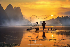 Silhouette of the Cormorant Fisherman IV (fesign) Tags: bambooraft bird boat chinaeastasia chineseculture colourimage contrast cormorant fisherman fishing fulllength guilin horizontal karstformation mountain onemanonly oneperson oneseniorman orange outdoors people photography reflection river riverli rurallife senioradult silhouette standing sunlight sunrisedawn threeanimals traditionalclothing twilight water woodmaterial xingping yangshuo net