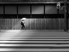 Kyoto girl... (明遊快) Tags: kyoto japanese light blackandwhite city urban street woman crosswalk zebra signal road