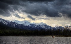 Under Stormy Skies (Katy on the Tundra) Tags: kayaking moonlake cathedralmountains storm