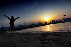 Sunset On Odaiba Beach, Tokyo (El-Branden Brazil) Tags: tokyo japan odaiba beach sunset asia japanese city urban sky
