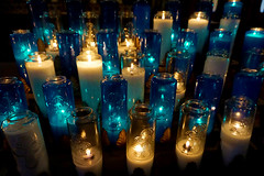 Visible Prayers (Seeing Visions) Tags: 2018 canada ca québec montréal notredamebasilica basiliquenotredamedemontréal church cathedral catholic religion candle votive glass wax lit flame transparent blue cross raymondfujioka