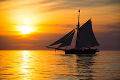 Three sheets to the wind (Paladin27) Tags: sailing sailboat sails sunset silhouette lakemichigan southhaven michigan water sky clouds orange
