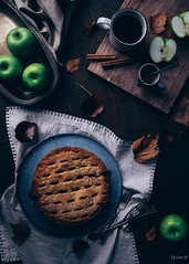 Cinnamon-spiced apple pie with salted caramel sauce (ErinaMak) Tags: spice caramel fujixt1 cinnamon dessert comfort sauce sweet grannysmith pie apple fujifilm stilllife foliage foodphotography topdown crust autumn salted sweets treat xf1855mm food foodstyling applepie pastry baked
