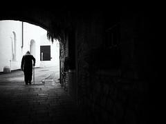 way home (Sandy...J) Tags: monochrom man mood olympus noir urban walking light darkness streetphotography blackwhite bw fotografie photography