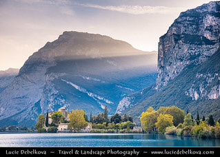 Italy - Alps - Lake Toblino with Toblino Castle at Sunset