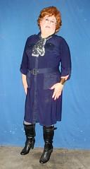 A Cross between Susan Hayward and my Mom (annad20061) Tags: redhead shirtdress boots secretary transfemme