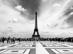 Parisian perspective (Pascalala) Tags: paris toureiffel monument place trocadero noiretblanc blackandwhite iphone iphone8 iphone8plus nb noirblanc bw blackwhite apple ciel sky people tourism touristes streetphotography street photo picture personnes chaillot palaischaillot damedefer streetphoto photography
