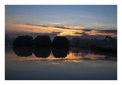 Golden rise (Greenstone Girl) Tags: blue sunrise silhouette reflections pond islands winter gold