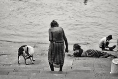 Climbing down towards purity... (subhojitchoudhury) Tags: canon canon77d blackwhite bw 50mm kolkatastreet kolkata old oldlady dog ganges ghat northkolkata ahiritolaghat ahiritola streetphotography street streetlove candid monochrome monochromelove photowalk pure duskhour prime primelens
