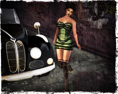 {Acios} Alley Dress, Heels, Stockings 02 (Mondi Beaumont) Tags: sl secondlife avi avatar girl woman women look {acios} acios dress mini minidress fatpack green heels retro vintage burlesque alley stockings sexy new release cloth clothing clothes fashion lara maitreya slink omega ebody