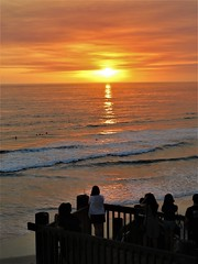 Sunday evening service (moonjazz) Tags: nature watcher looking ahhs sunset patio california classic beach pacificocean sun final adios gathering worship evening twilight travel encinitas calm color water change sky orange light photography wows meditation service grace time eternal simplicity